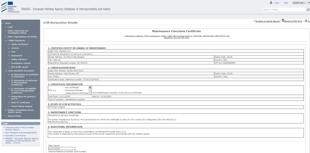Certificato ERADIS